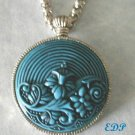Cinnabar Look Turquoise Blue Watch Like Pendant Necklace