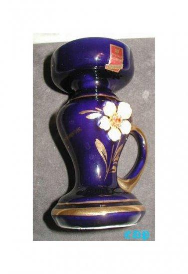 Gesch Vase Candlestick COBALT Jeweled Flower MWT