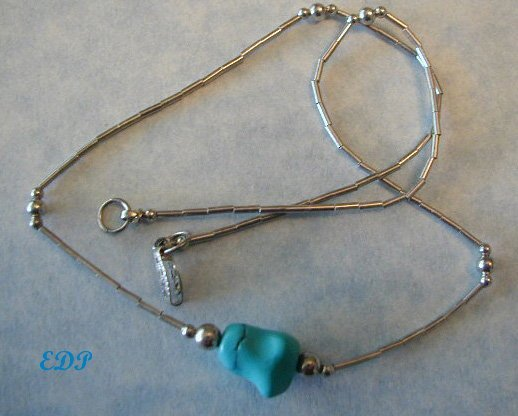 Native American Sterling and Turquoise Nugget Necklace