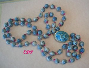 Oriental Blue and White Cinnabar Like Necklace Asian