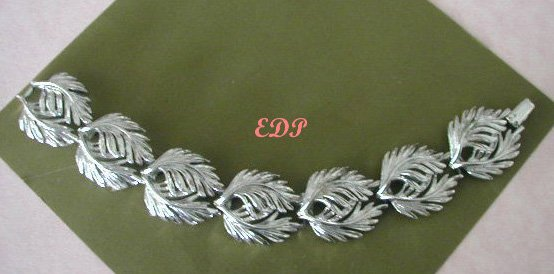 LISNER Chunky Silver Leaf Link Bracelet Signed