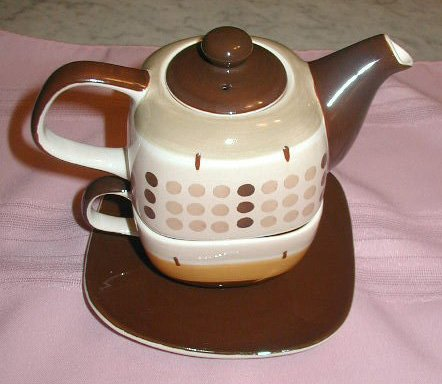 4 Pc Pottery Stacking TEA Set Handpainted Browns Hues