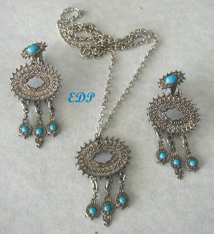 Southwestern Style Clip Earrings and Necklace