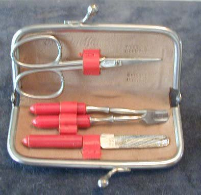 5pc Purse Manicure Set W. Germany Leather Case Scissor