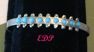 Native American Silver and Faux Turquoise Cuff Bracelet