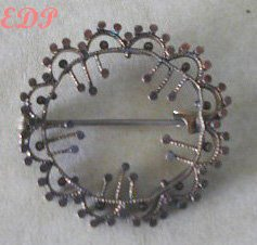 Diamond Cut Circle Pin Virgin Brooch Bronze Filigree