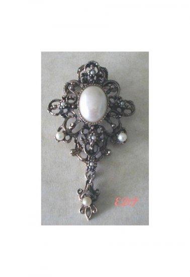 Large Faux Pearl Dangle Brooch Pin Filigree