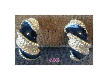 Gay Boyer Black Enamel Twisted Gold Clip Earrings
