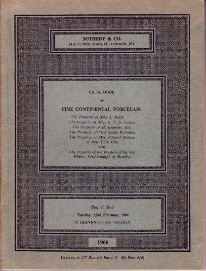 1966 Sotheby Auction Catalog Continental Porcelain