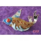 Asian Oriental Koi FISH Brooch Pin Sterling Filigree Enamel
