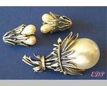Botticelli Faux Pearl Large Flower Brooch Clip Earrings
