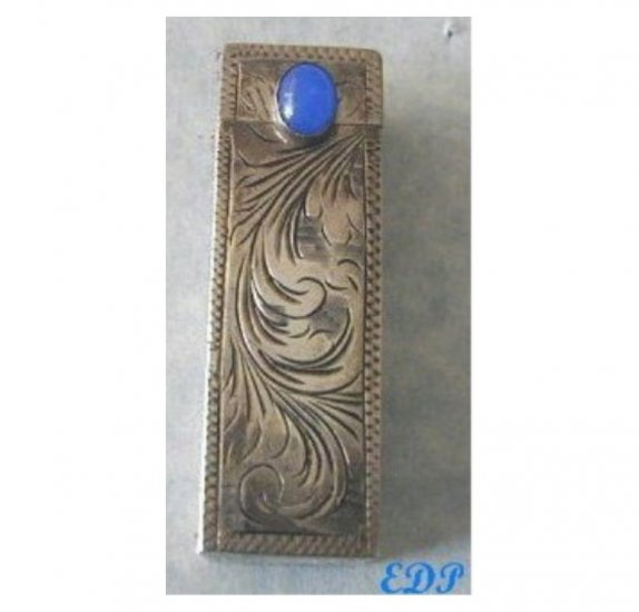 Italian  Lipstick Case Blue Stone Etched ART DECO
