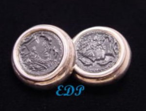 Sterling Clip Earrings Black Cameo  Intaglio Italy