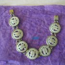 Oriental Mother Of Pearl Disk Bracelet Writing Characters Chinese