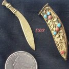Sword Dagger  Sheath Filigree Turquoise Coral Brooch Pin C-clasp