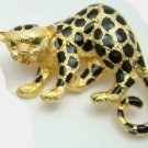 Leopard Pin Brooch Cheetah Cat Enamel