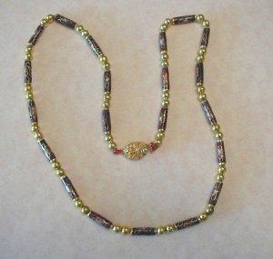 Enamel Cloisonne Beads Necklace Floral Filigree Clasp