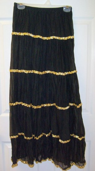 CRESSONG Long Black Crinkle Boho Skirt Junior Small 3/4