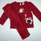 Gymboree MOUNTAIN CABIN Snowman Red Top/Leggings/Curly Clips 2T/2