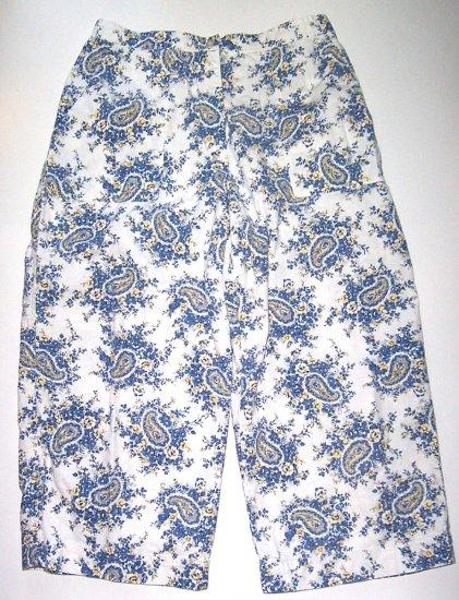 RUSS Cropped Pants Cream/Blue Womens Sz. 12