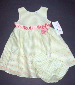 B.T. KIDS Green Stripe Sundress/Dress Girls 18 Months