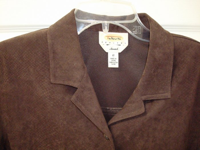 TALBOTS Brown Faux Suede Top/Tunic/Jacket Womens 12 P