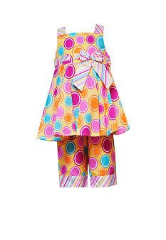 RARE EDITIONS Yellow/Pink Dot Summer Capri Set - Girls 4