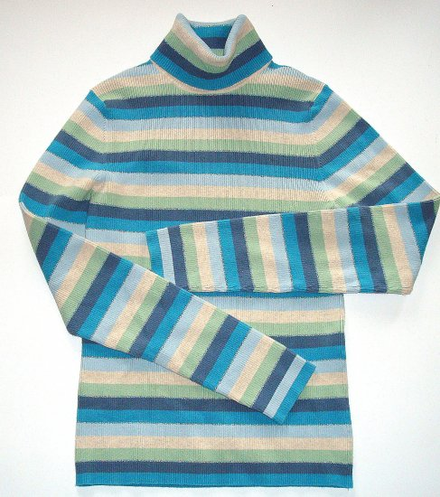 OLD NAVY Stripe Ribbed Turtleneck/Top Womens Medium