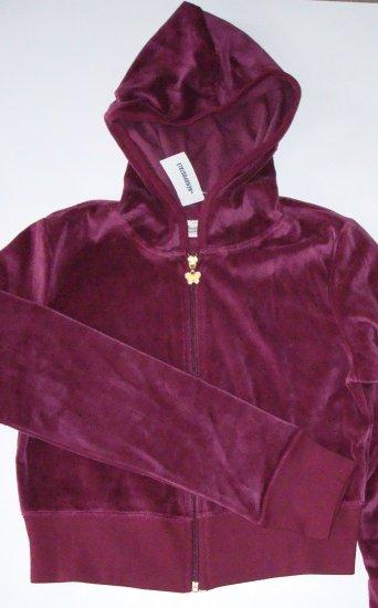 AEROPOSTALE Cropped Burgundy Velour Hooded Jacket Jr. Girls M