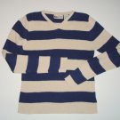 FADED GLORY Navy/Beige Stripe Ribbed V-Neck Sweater Girls 10/12