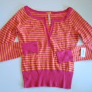 AEROPOSTALE Cropped Orange/Fushia Striped Sweater Junior Med.