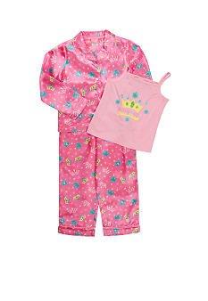 J KHAKI Pink Crown 3 Piece Pajama Set Girls XSmall 4~5