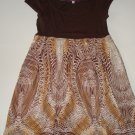 JULIE'S CLOSET Brown Animal Print Tunic Top Womens Med.