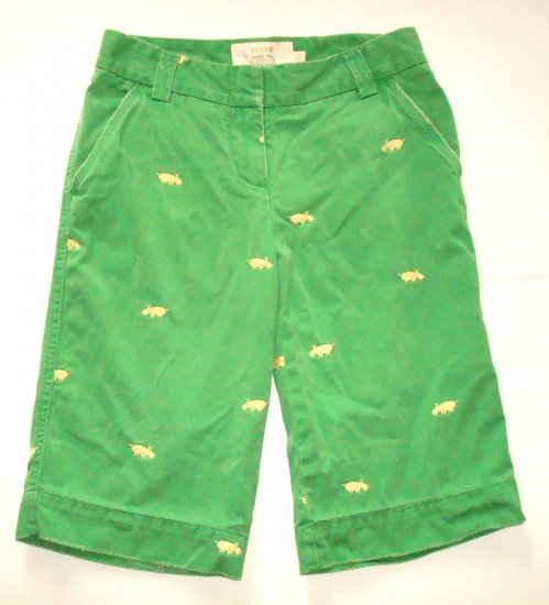 J CREW Green City Fit Bermuda Shorts Womens Sz. 0