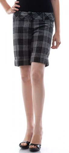 VANA Checkered Wool Shorts Gray Small