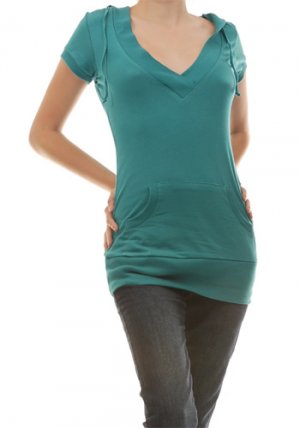 HOODIE V-Neck Hoodie Tunic Top Turquoise (Blue) Sz Small