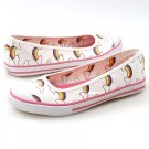 Qupid Vida43 Canvas Flats White with Rainbows Sz 6.5