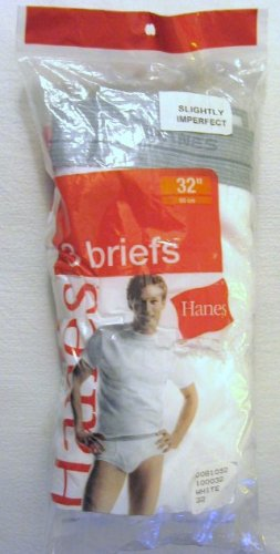*1 Pack (3 Pair) Hanes White Briefs with Discontinued Grey Waistband Size 32