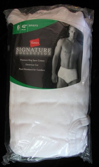 "*DISCONTINUED 1Pkg 6 Briefs Hanes Signature Collection 42"" NWT"