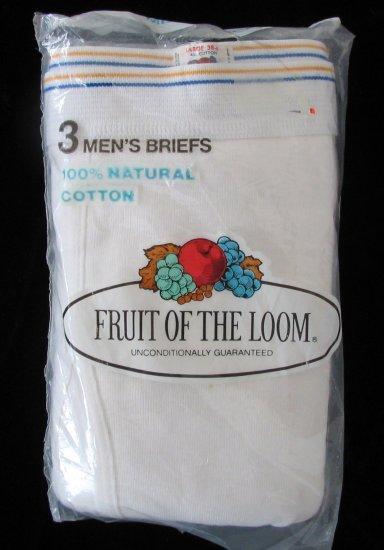 *1 Pkg 3 Pair Vintage 70's Fruit of the Loom Briefs Large 38-40