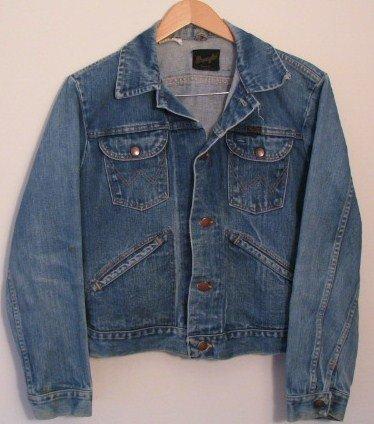 *Mens Vintage Wrangler Western Unlined Denim Jean Jacket USA 38