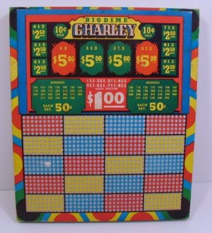 "Vintage 10 cent 1000 hole "" BIG DIME CHARLEY "" Punchboard NEW USA"