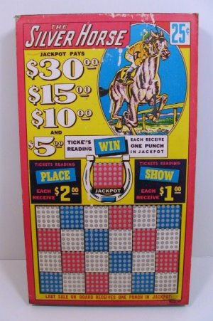 """Vintage 25 cent 600 hole """" THE SILVER HORSE """" Punchboard NEW USA"""