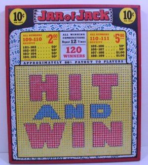 """Vintage 10 cent 2000 hole """" JAR OF JACK """" HIT AND WIN """" Punchboard NEW USA"""