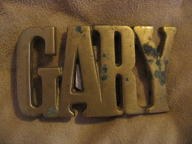 "Vintage 70's 80's Solid Brass Belt Buckle NOS "" GARY """