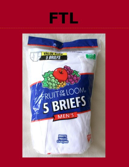 *1 Pkg 5 Pair Discontinued Fruit of the Loom Briefs Small 30-32