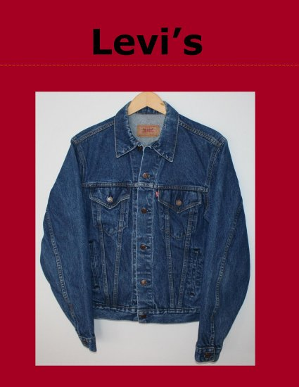 Vintage Classic Mens LEVI Red Tab Unlined Denim Trucker Jean Jacket Size 40L Made in USA 70506-0216