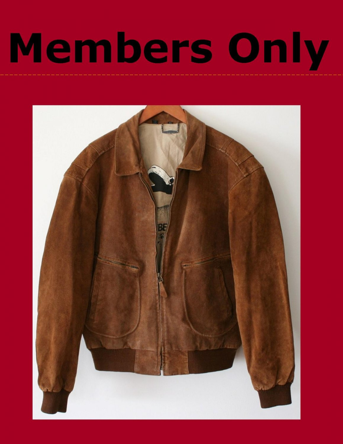 Vintage 80's Mens Members Only Suede Leather Jacket Size 44
