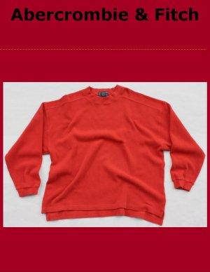 Men's Abercrombie & Fitch Burnt Orange V-Neck Cotton Sweater Large
