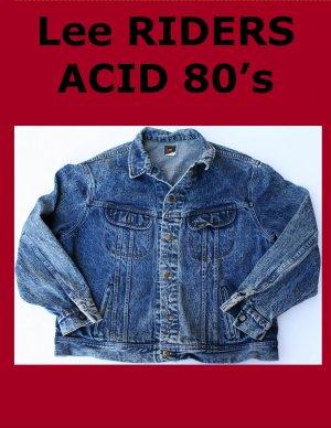 Vintage 80's Men's Lee Rider Acid Wash Jean Jacket XL USA